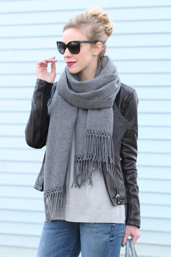 Chanel Sunglasses Nordstrom  softened edge leather moto jacket oversized wrap scarf