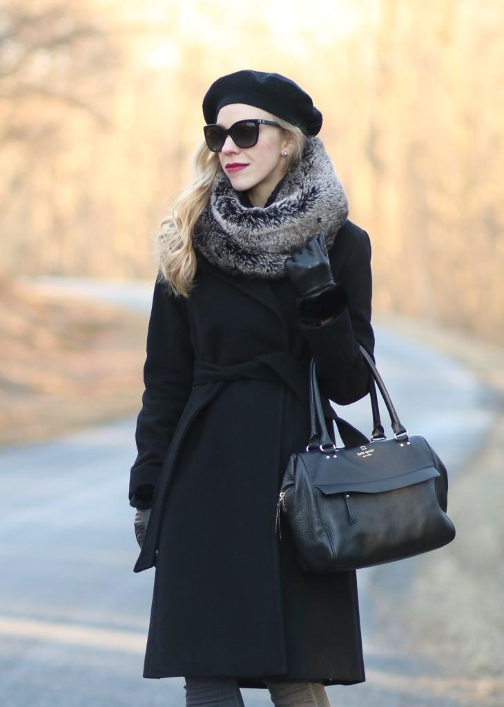 { Winter Layers: Wool wrap coat, Cashmere beret & Faux fur ...