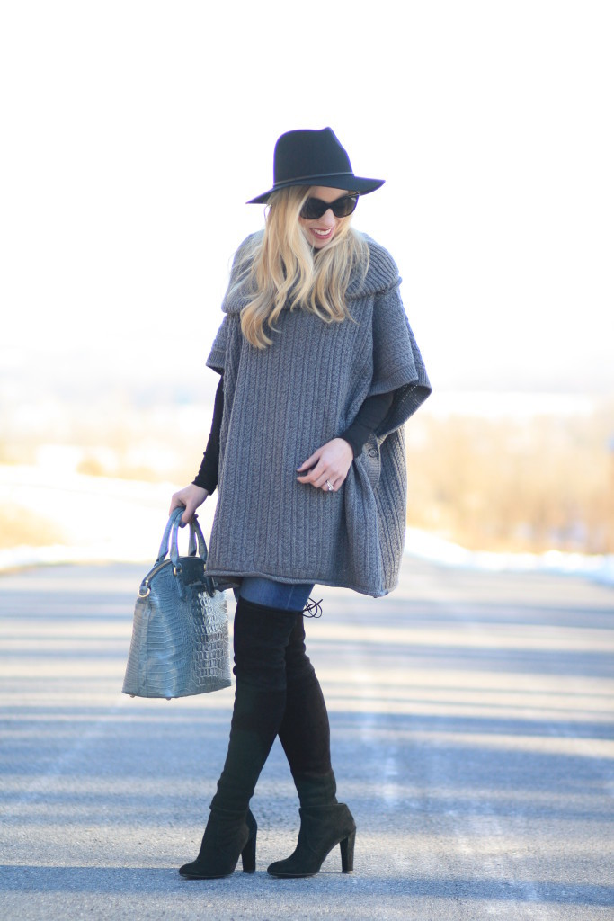 Winter Colors Oversized Poncho Distressed Denim