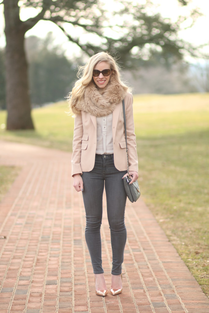 { Soft Blush: Pink blazer, Faux fur snood & Rose gold