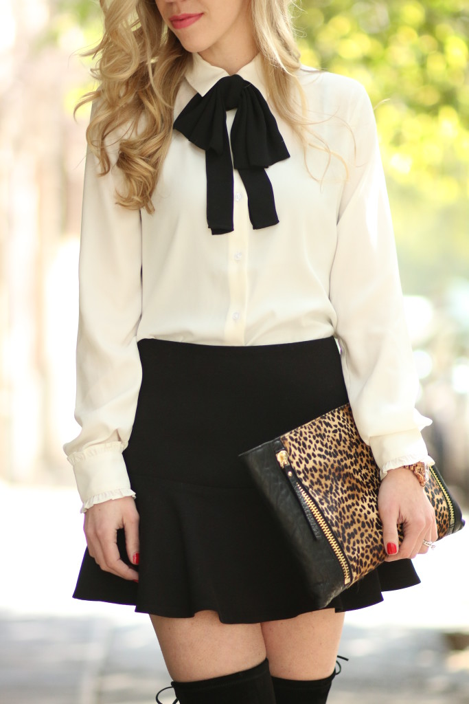 Chanel Inspired Bow Tie Blouse Flounce Mini Skirt