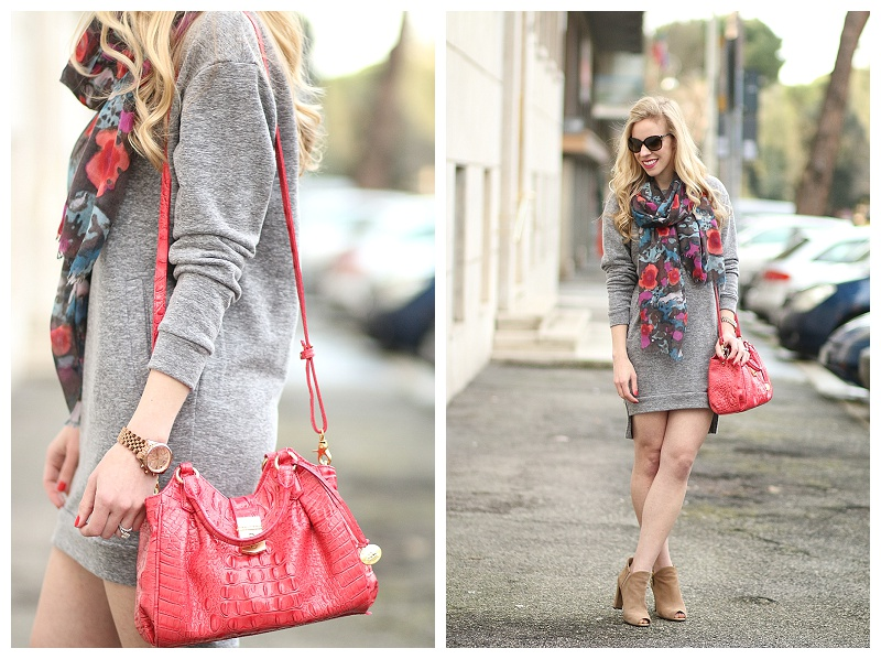 Hi Low Hem Sweatshirt Dress Floral Scarf Amp Peep Toe
