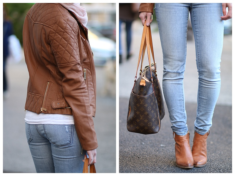 Michael-Kors-camel-leather-jacket-LOFT-super-skinny-denim-pale-blue-Frye-Reina-camel-leather-western-ankle-boots-Louis-Vuitton-totally-MM-tote-camel-leather