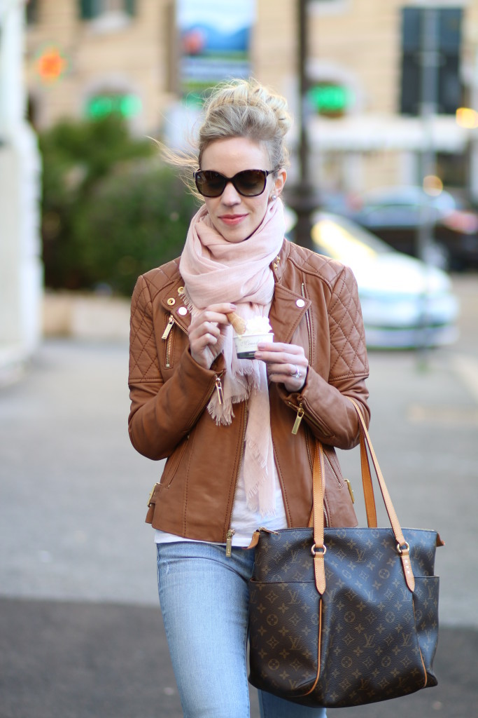 Camel Amp Blush Leather Jacket Pink Scarf Amp Light Denim