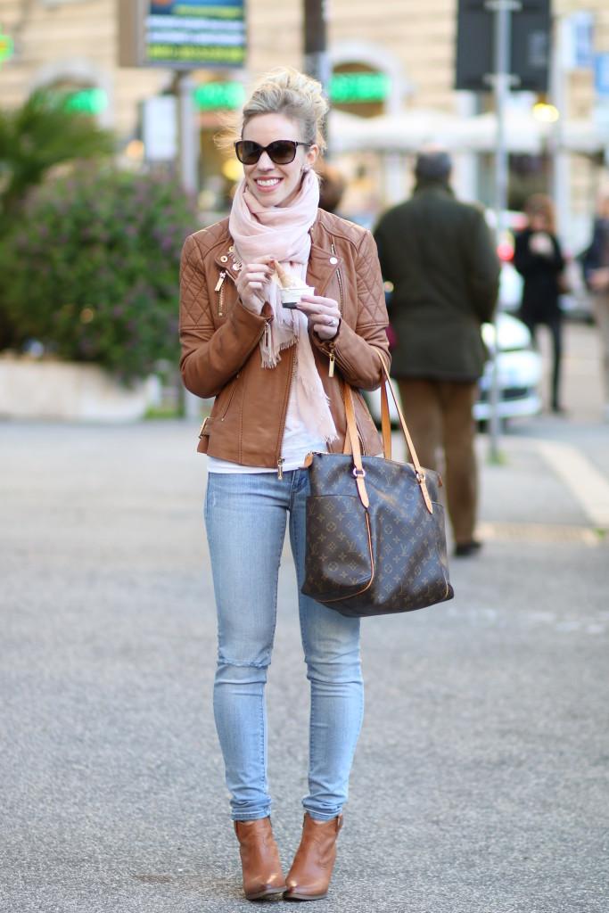 { Camel & Blush: Leather jacket, Pink scarf & Light denim ...