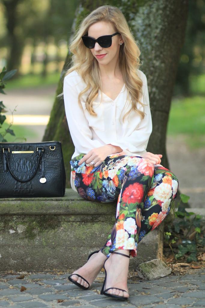 Fiori Light Pink Blouse Floral Print Pants Amp Stiletto