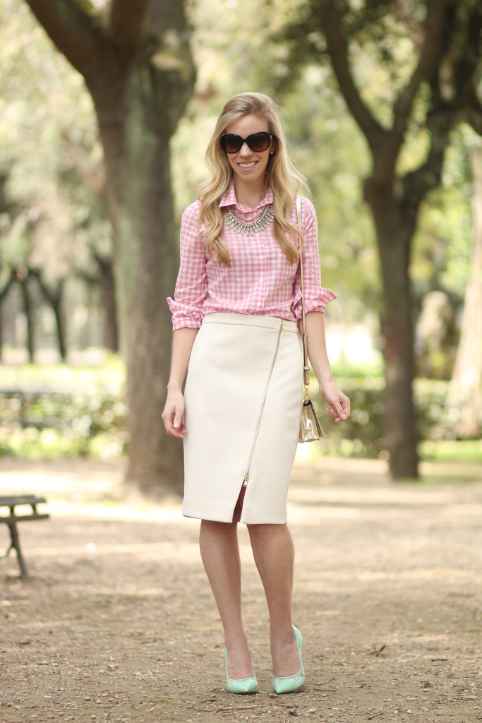 bedc7393ff J. Crew coral pink gingham shirt with statement necklace, J. Crew ivory  assymetrical ...