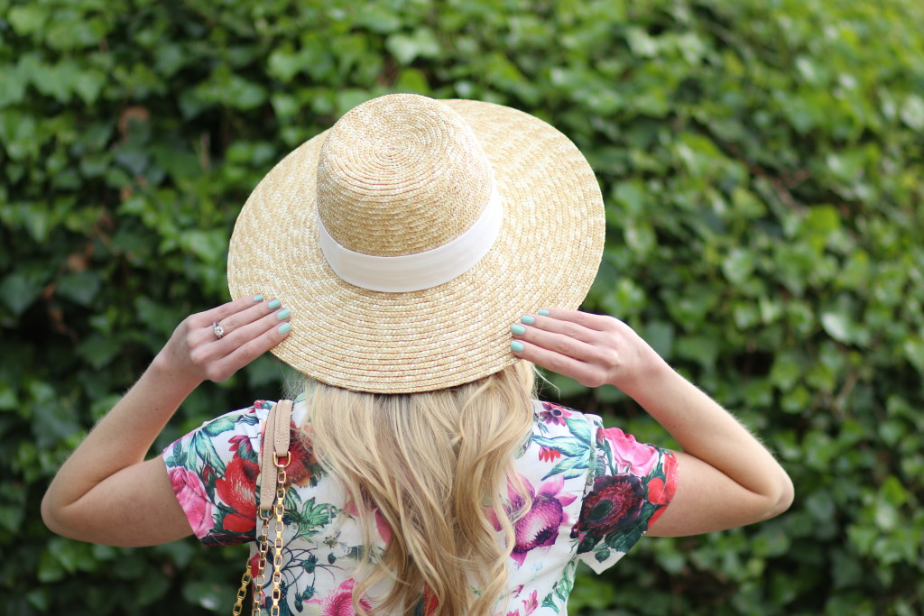 J. Crew ribbon sash oversized straw hat, floral crop top, how to wear an oversized straw hat