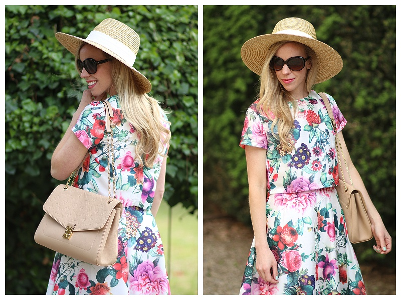 J. Crew wide brim straw hat with floral matching crop top and midi skirt