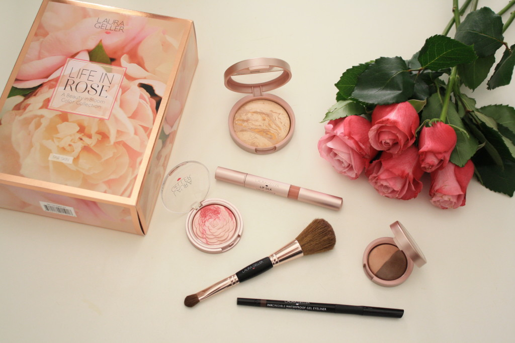 Laura Geller 'Life in Rose' beauty collection QVC, Laura Geller makeup review, how to apply balance n brighten baked foundation, baked gelato blush, waterproof eyeliner