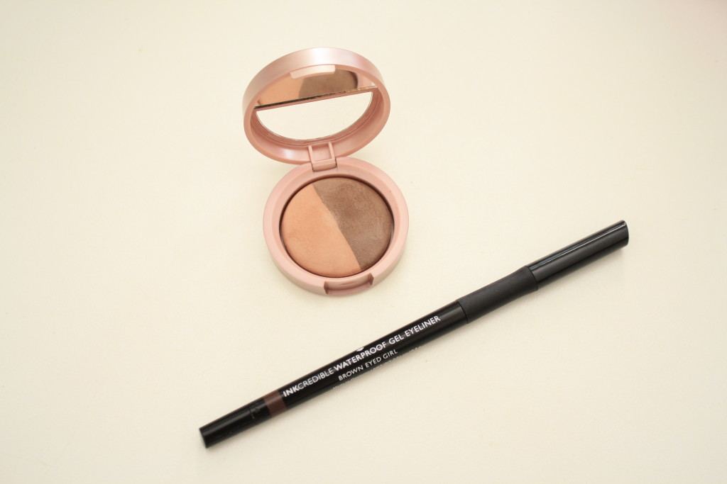 Laura Geller brown eyed girl waterproof gel eyeliner, eyeshadow duo petal and earth, QVC 'Life in Rose' beauty collection review, how to apply Laura Geller baked eyeshadow
