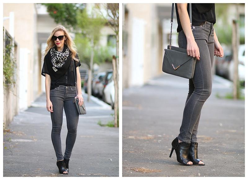 74b7144c9f black crop top with high waist jeans, vintage YSL scarf, Adriano ...