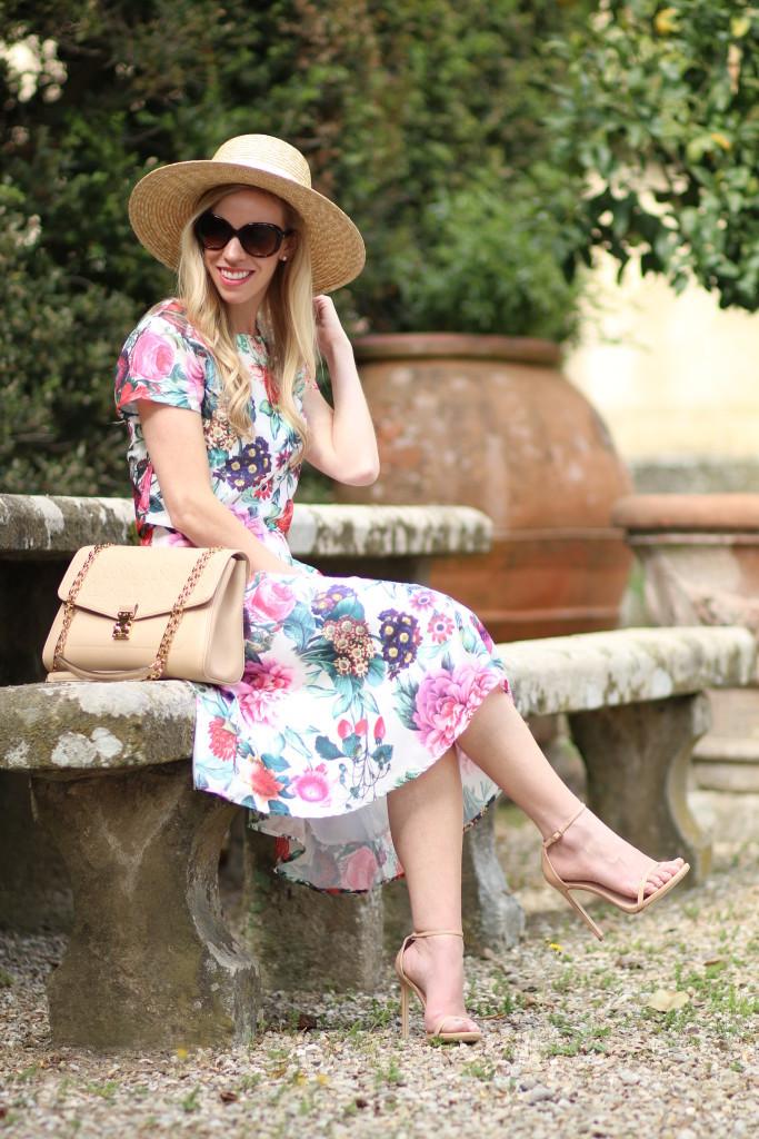 floral-crop-top-and-matching-midi-skirt-J.Crew-wide-brim-straw-hat-Louis-Vuitton-St.-Germain-dune-beige-Stuart-Weitzman-adobe-nudist-stiletto-sandal-matching-top-and-midi-skirt-outfit