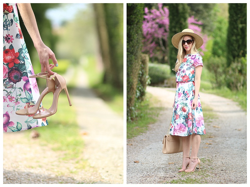 matching crop top and midi skirt outfit with Stuart Weitzman adobe Nudist sandals and J. Crew wide brimmed straw hat