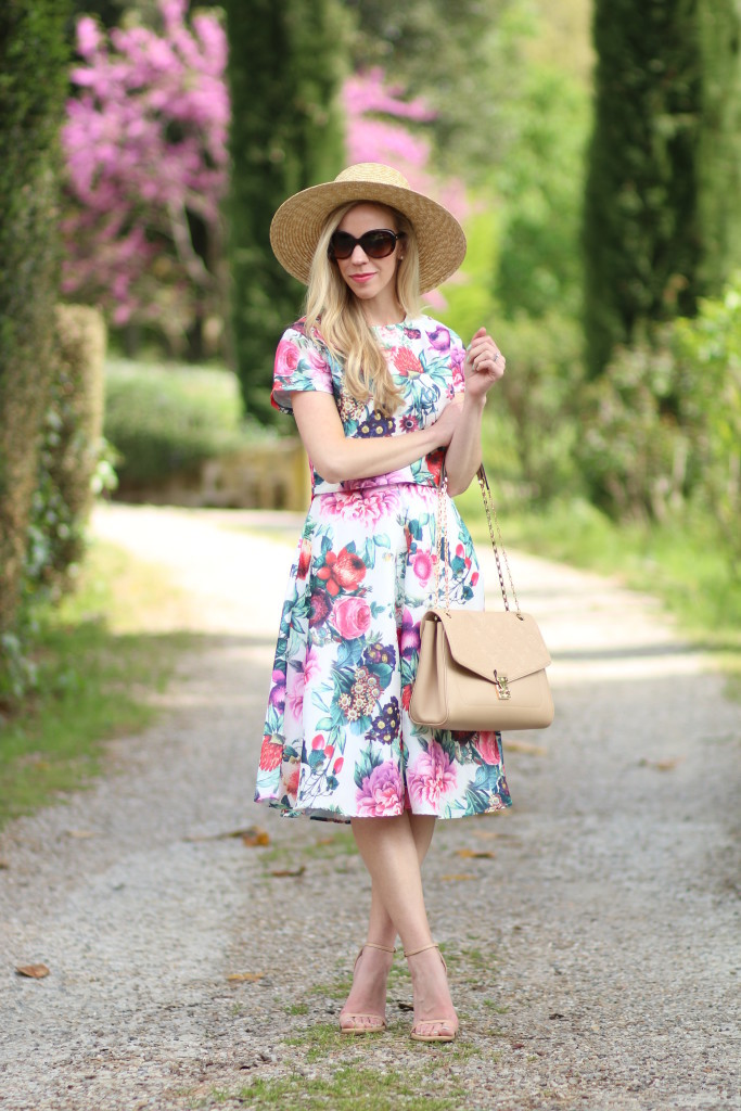 matching floral crop top and midi skirt outfit
