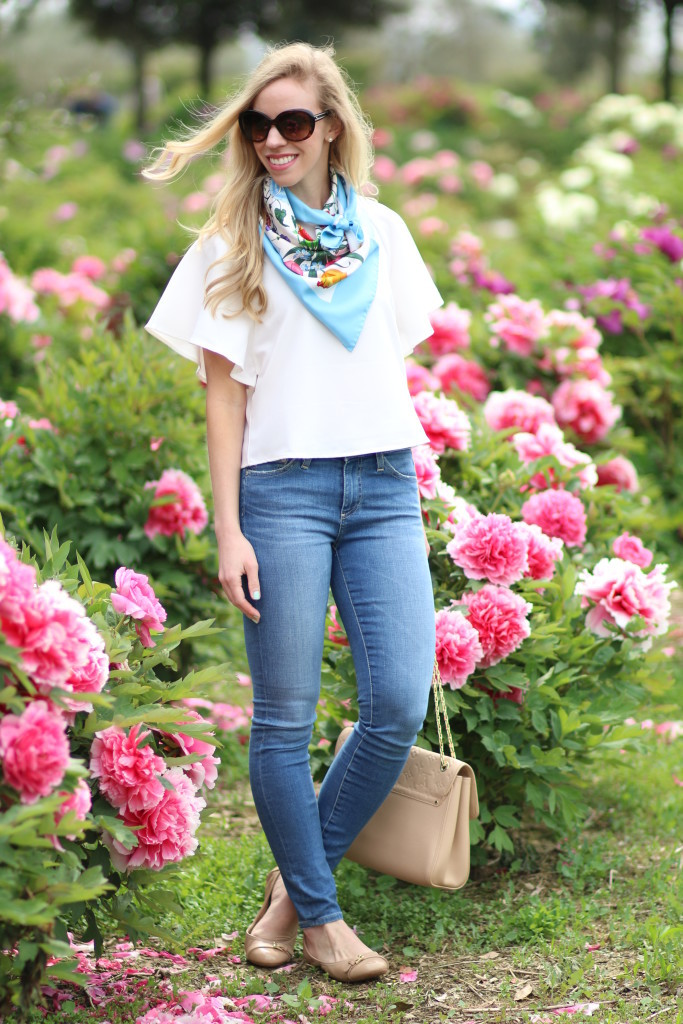 peony farm Viterbo, Italy, Moutan Botanical Center, vintage Gucci floral print silk scarf, Adriano Goldschmied high waist ankle jeans, Louis Vuitton St. germain monogram bag dune leather