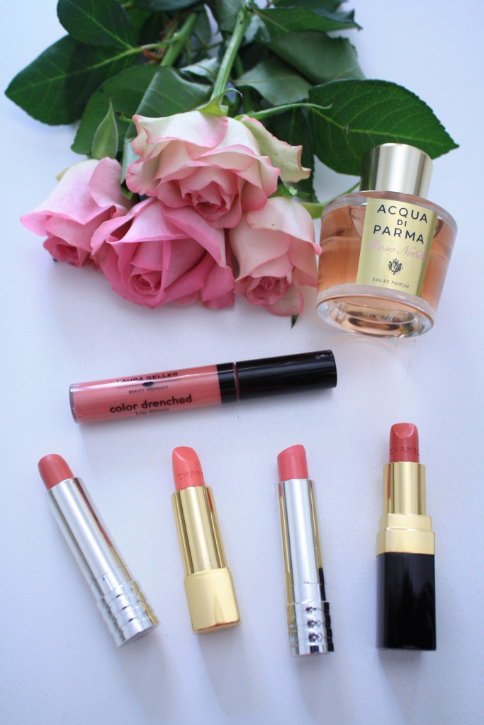 pink beauty review, best pink lipcolors for spring and summer, Acqua di Parma rosa nobile perfume, Chanel rouge coco Edith, Chanel Badine lipstick, Clinique soft matte petal, Clinique soft matte beauty, Laura Gellar