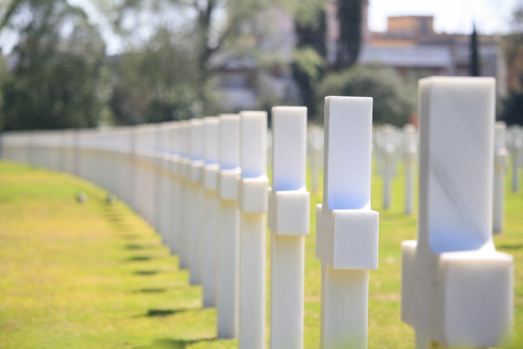 tombstones in Sicily-Rome American Cemetery, Nettuno Italy, World War II