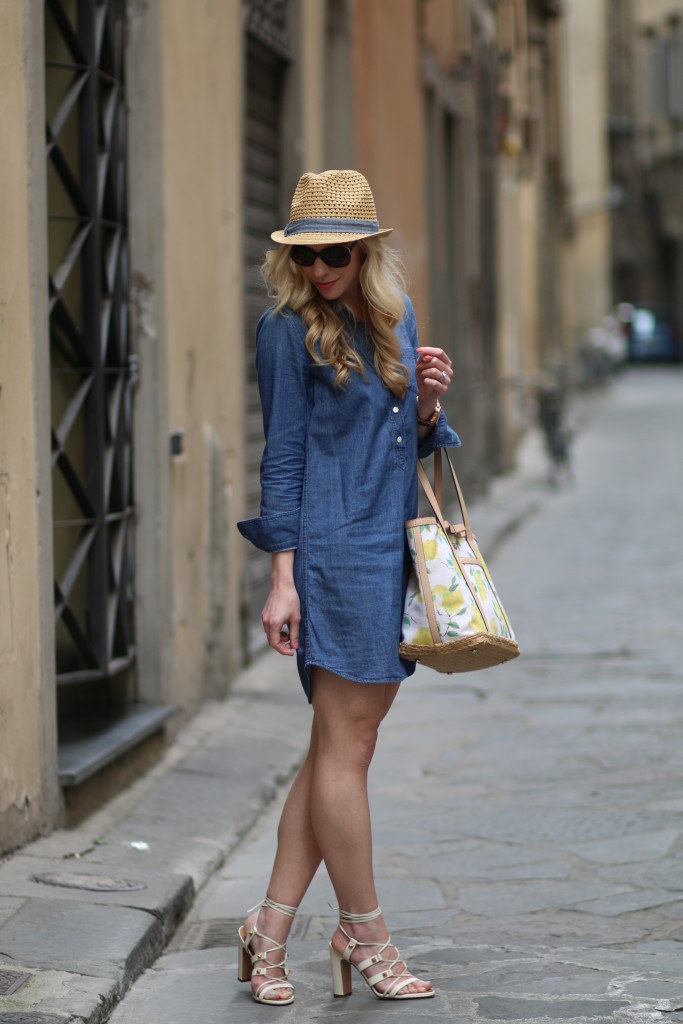 J. Crew denim shirt dress, target fedora chambray trim, Kate Spade lemon tote, Valentino white lace up Rockstud gladiator block heel sandals, how to wear a denim dress