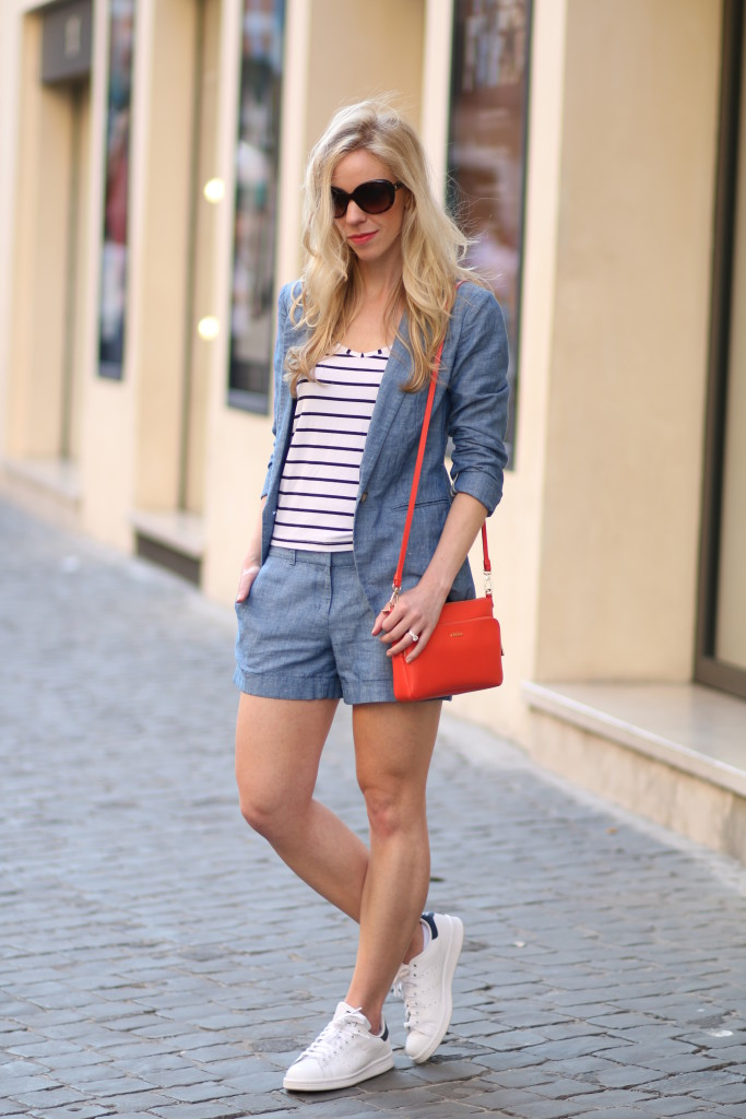 6a22f2e3918 LOFT chambray shorts suit, chambray blazer, how to wear Adidas stan smith  sneakers, sneakers with shorts outfit, Furla hibiscus orange bag, Italian  fashion ...