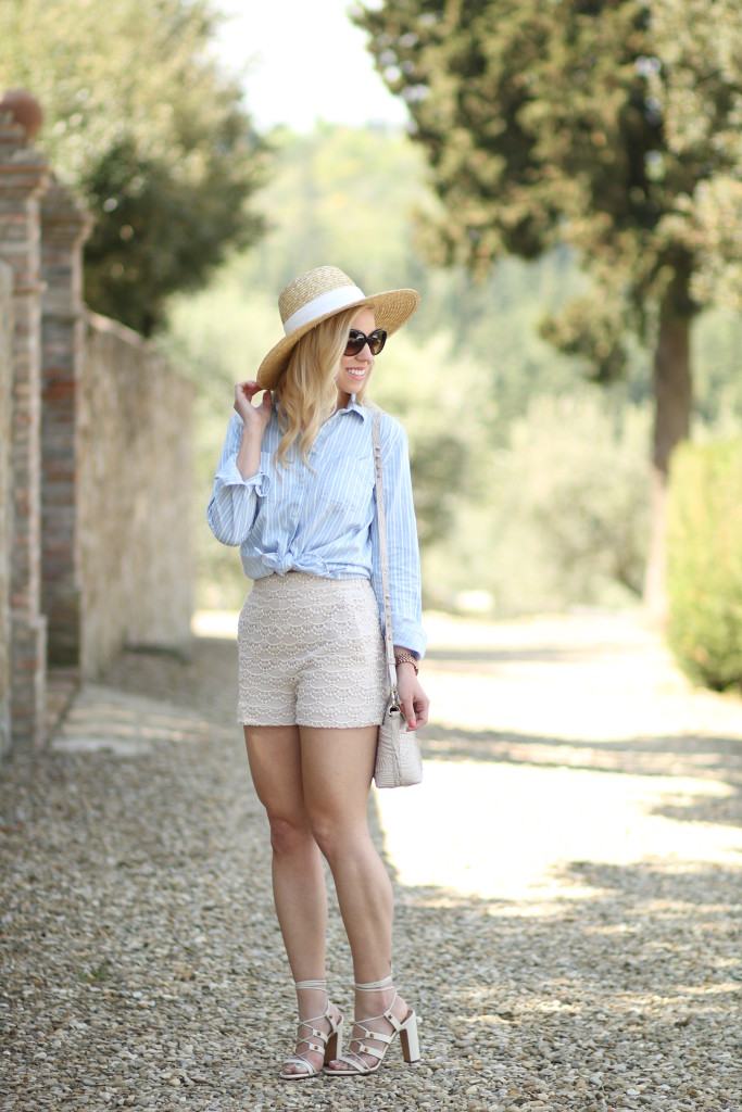 LOFT stripe chambray button down, J. Crew wide brim straw hat, Express high waist lace shorts, Valentino white gladiator heel sandal, how to wear high waist shorts