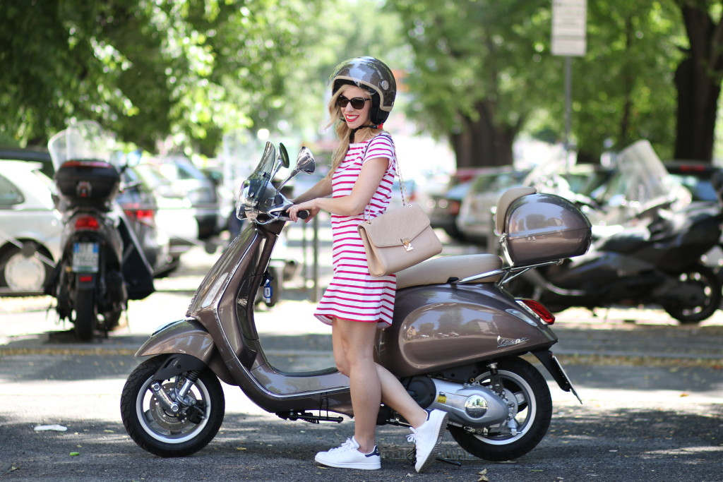 Vespa style fashion, Milly for Kohls vespa red striped tee shirt dress, Adidas white navy stan smith sneakers, Italian fashion blog