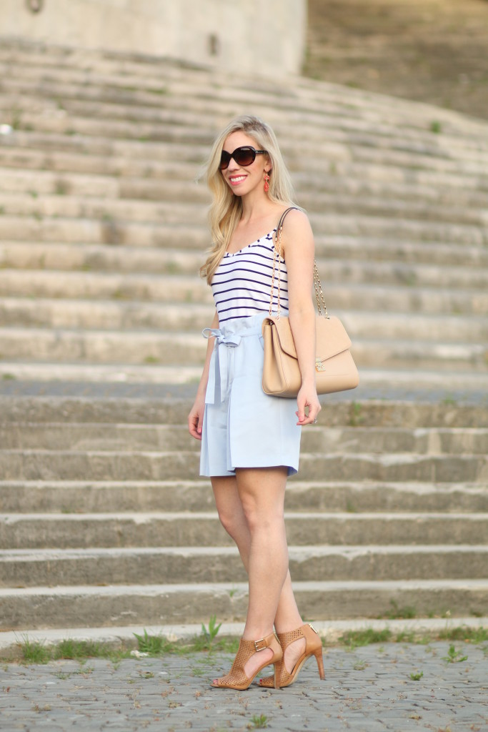 navy striped camisole with high waist shorts, Louis Vuitton dune leather St. Germain bag, tan peep toe booties, paperbag waist shorts outfit