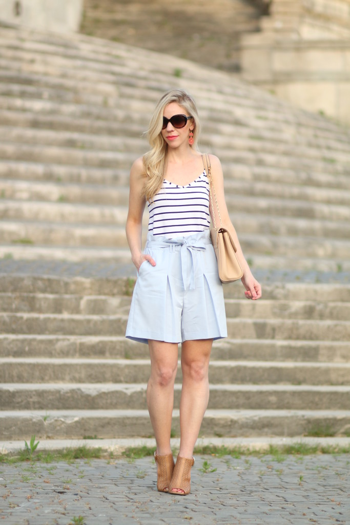 navy striped camisole with high waist shorts, paperbag waist shorts, how to wear high waist shorts for summer, caged booties, Italian fashion blog