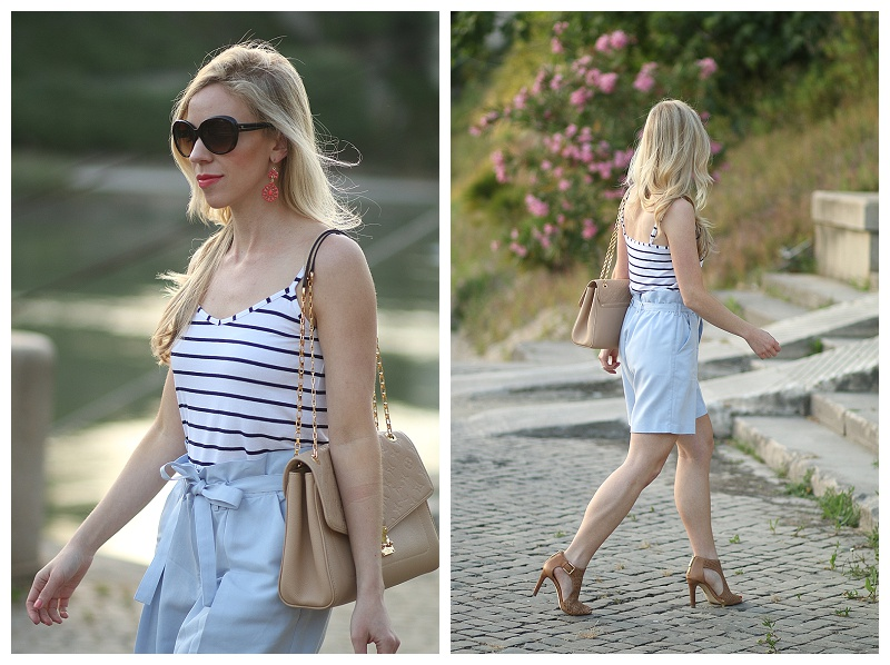 navy striped camisole with paperbag waist shorts, tan leather peep toe booties, striped tank with high waist shorts outfit, Chanel oversized sunglasses