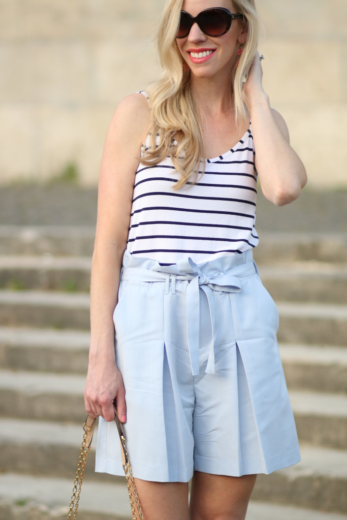 paperbag waist shorts, nautical inspired outfit, navy striped tank with high waist shorts, how to wear high waist shorts, Estee Lauder 'Surreal Sun' coral lipstick