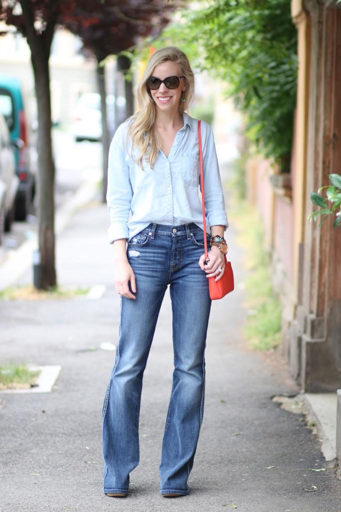 Denim on Denim: Chambray shirt, Bootcut jeans & Orange bag }