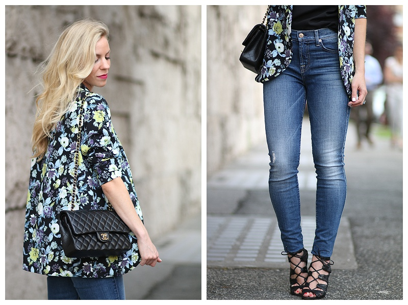 7 for all mankind high waist ankle skinny jean, Vince Camuto black lace up heels, floral kimono jacket, Chanel medium classic black and gold flap bag, how to wear high waist denim