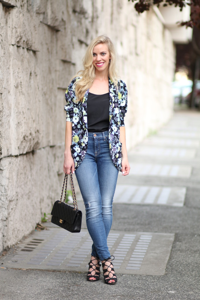 H&M black floral jacket, kimono with high waist jeans outfit, how to wear high waist denim, 7 for all mankind high waist ankle skinny jeans, black lace up heels, Chanel medium classic flap bag