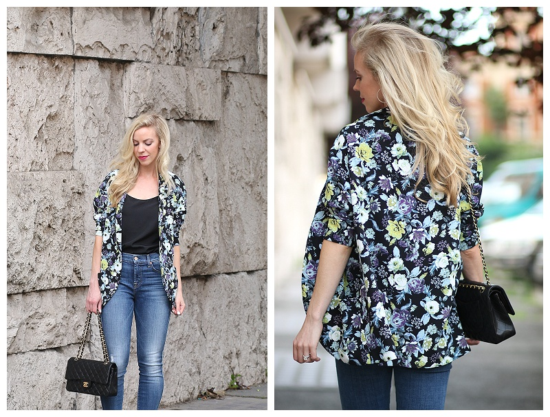 H&M floral kimono jacket, Chanel medium classic flap bag black and gold, 7 for all mankind high waist ankle skinny jeans, Italian fashion blogger