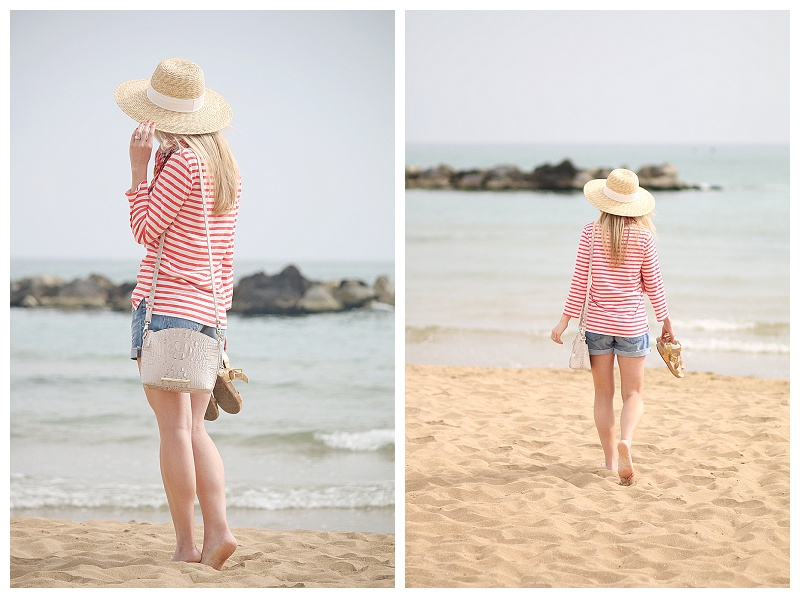 J Crew wide brimmed straw hat, Brahmin paloma gray mini duxbury, Brahmin summer in hand, orange striped boatneck tee, striped tee and denim shorts outfit