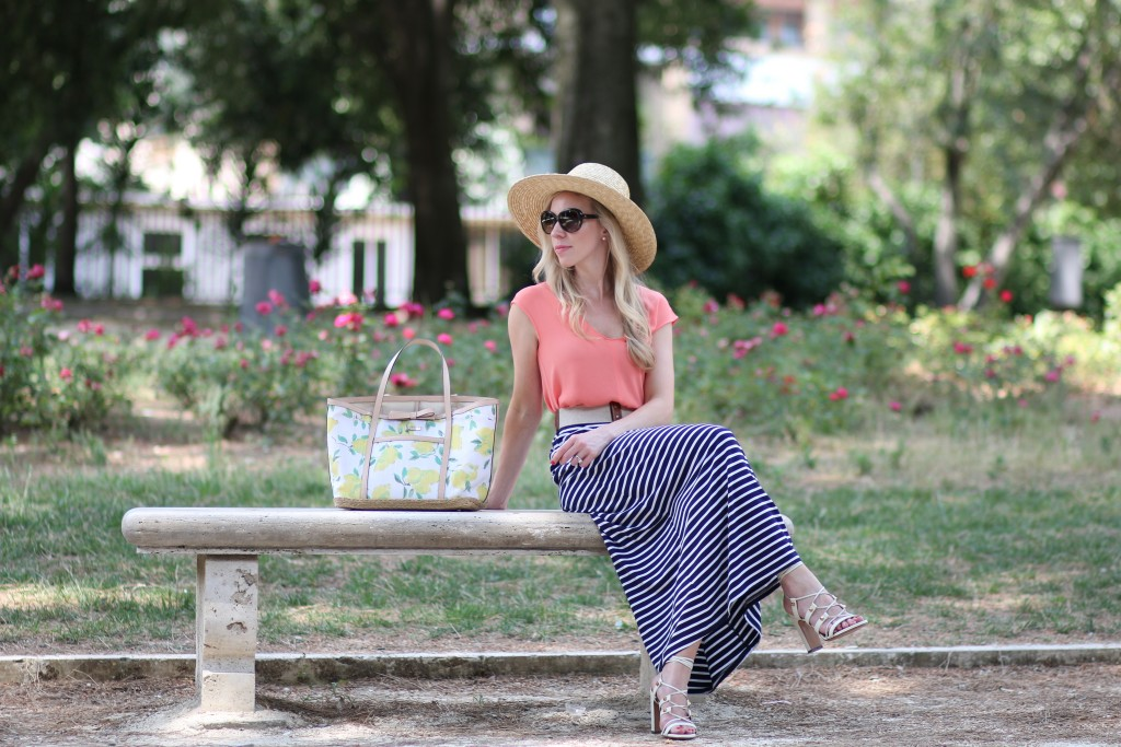 Easy Breezy Straw Hat Striped Maxi Skirt Amp Lace Up