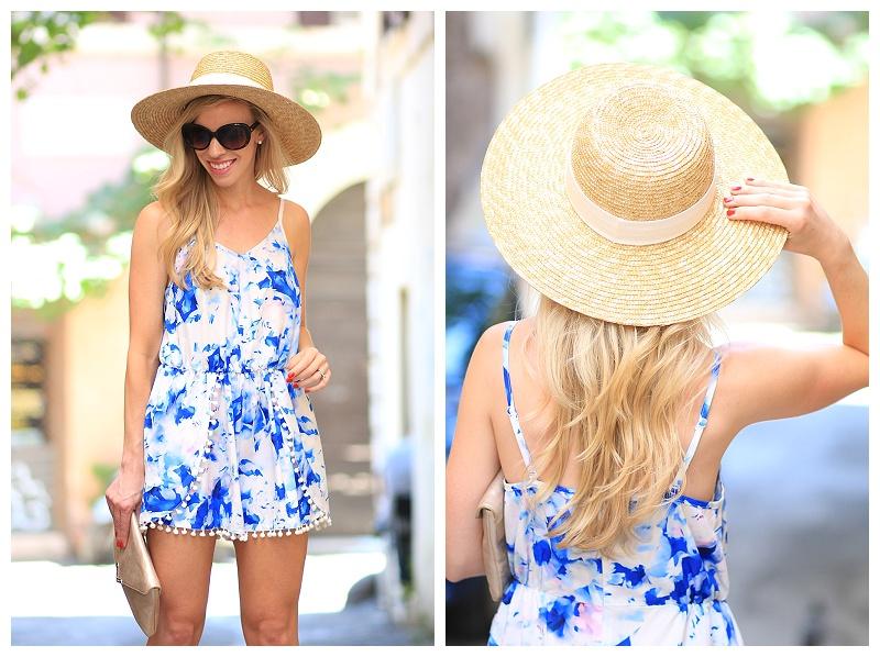 J. Crew wide brim straw hat, Sheinside blue print romper, how to wear pom pom trend, romper with pom pom trim