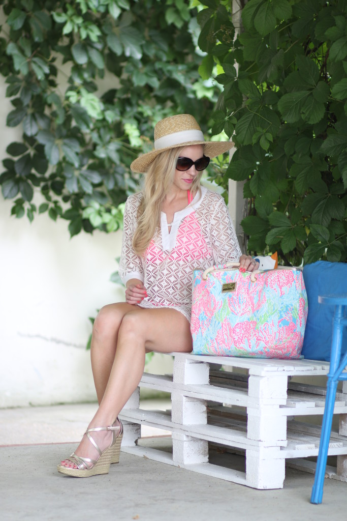 J. Crew wide brimmed straw hat, white eyelet lace crochet swimsuit cover-up, gold wedge sandals, Lilly Pulitzer coral reef beach tote, how to go from beach to dinner