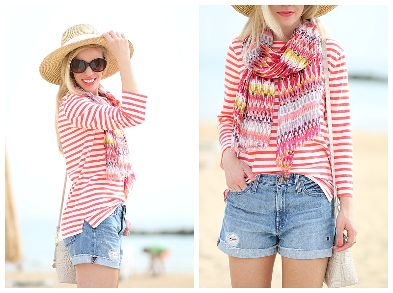 LOFT colorful summer scarf, how to mix prints for summer, J Crew striped boatneck tee, high rise distressed denim boyfriend shorts fairfax wash, wide brimmed straw hat
