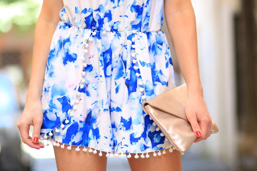 Sheinside pom pom romper, blue floral print romper, Elaine Turner gold Bella clutch