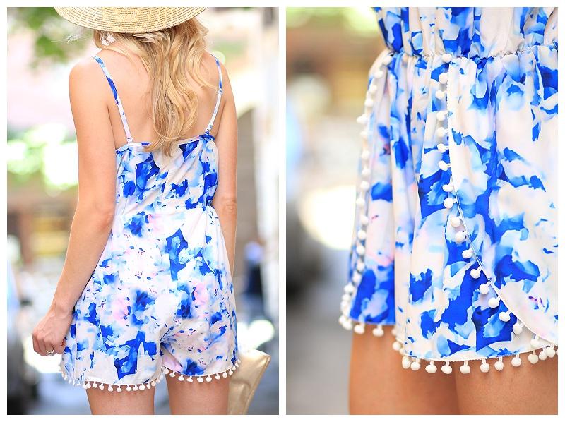 Sheinside water color blue romper with pom pom trim, how to wear pom pom trend, Italian fashion blogger