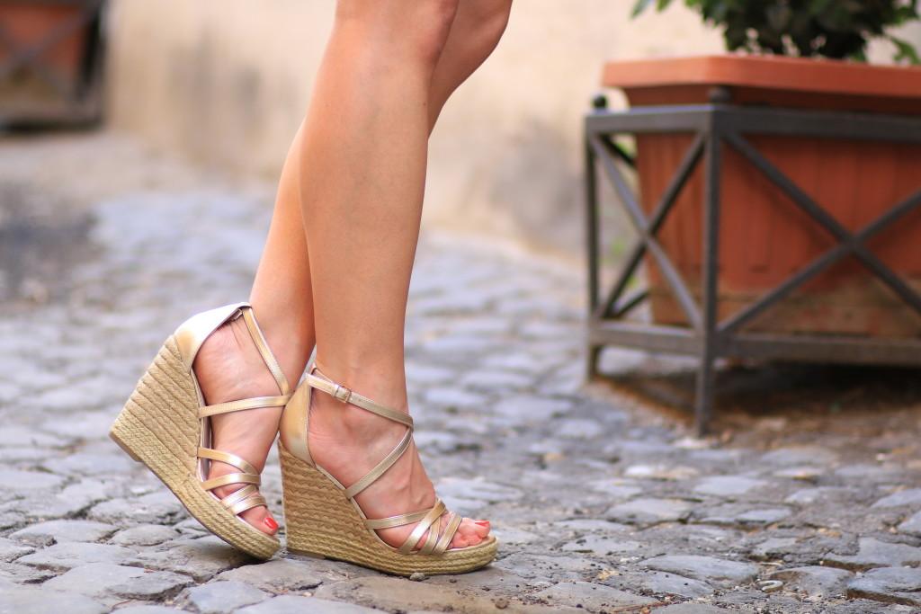 Tommy Hilfiger gold wedge sandals, metallic wedges