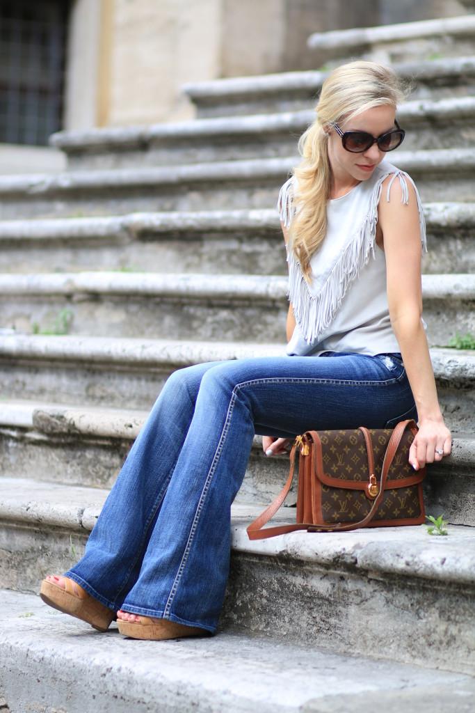 { Peace Love U0026 Louis Vuitton Fringe Top Flare Denim U0026 Vintage Bag } - Meaganu0026#39;s Moda