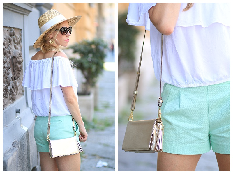 Brahmin gold Amelia crossbody bag, J. Crew wide brimmed straw hat, Express white off the shoulder top, J. Crew mint shorts, off the shoulder top with straw hat