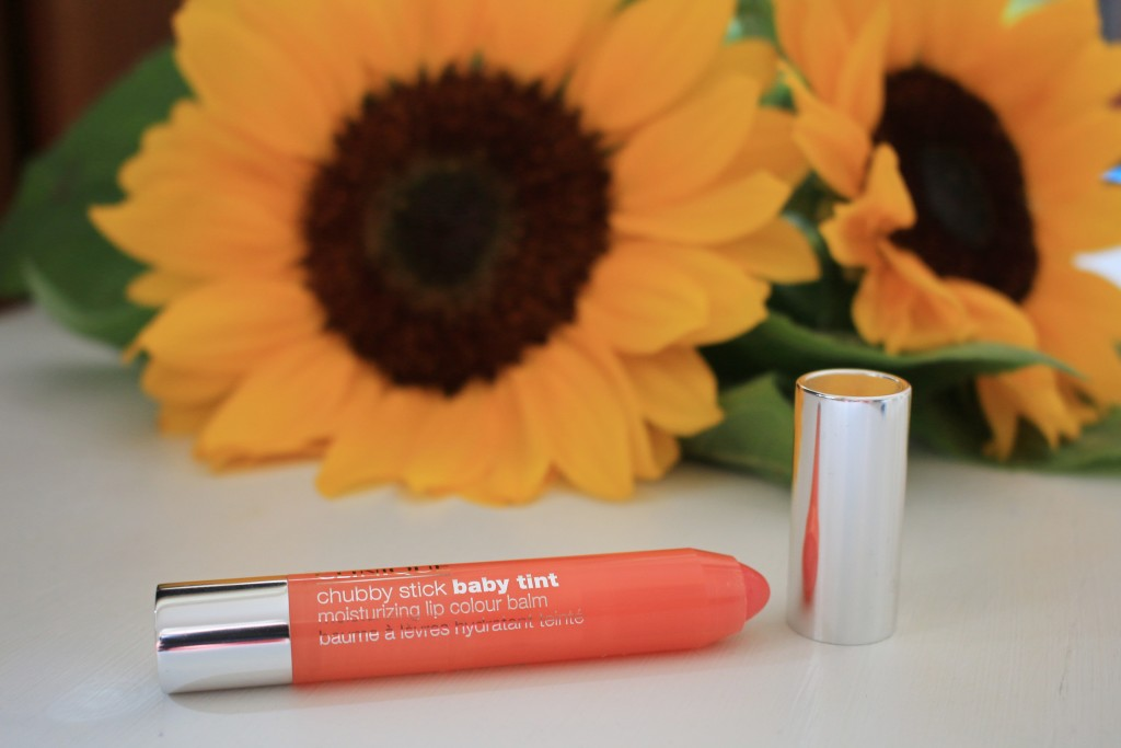 Clinique baby tint chubby stick Poppin' Poppy, sheer peachy coral lipcolor, everyday coral lipcolor