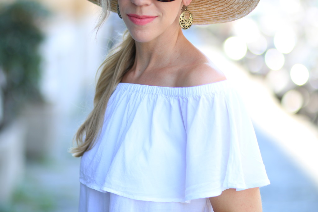 Clinique petal soft matte lipstick, Express white off the shoulder top, off the shoulder top with oversized wide brim straw hat