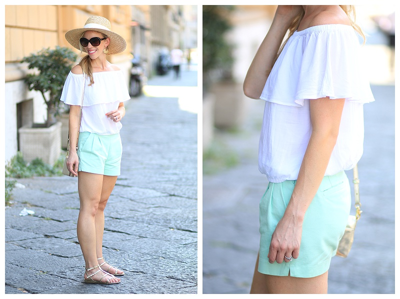 Express white off the shoulder top, J. Crew mint shorts, wide brimmed straw hat, gold gladiator sandals, how to wear mint shorts