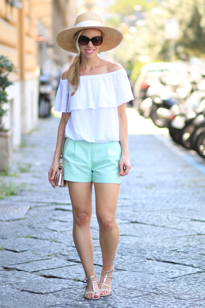 Express white off the shoulder top, J. Crew wide brim straw hat, mint shorts, gold gladiator sandals, mint shorts outfit, off the shoulder top with oversized hat