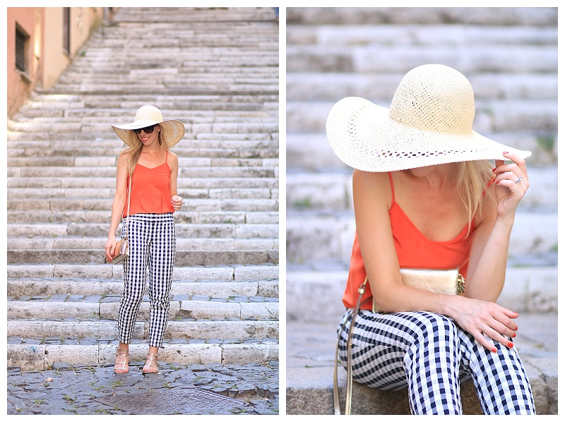 H&M floppy straw hat, Brahmin gold crossbody bag, LOFT gingham ankle pants, how to wear gingham pants, gold gladiator sandals