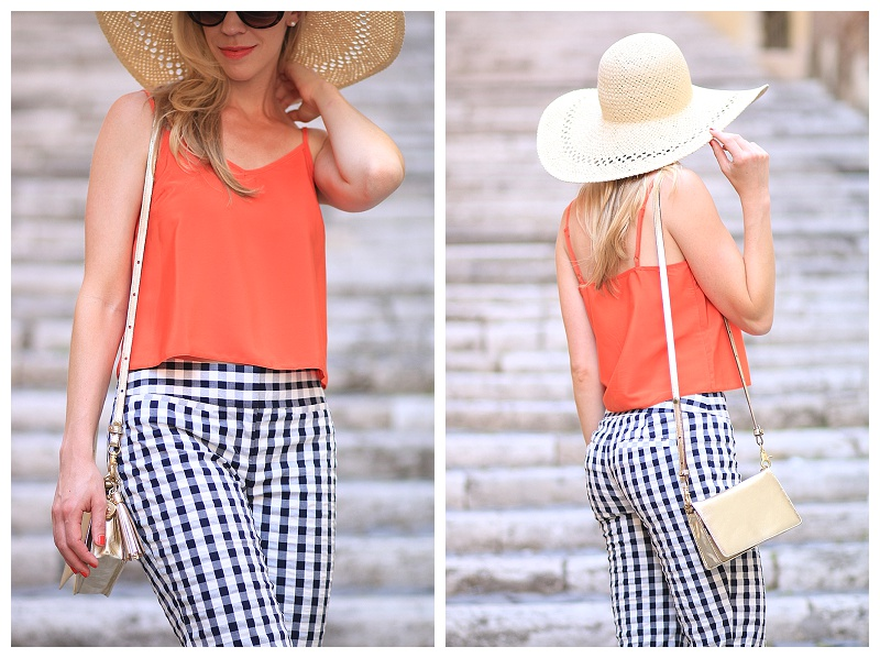H&M floppy straw hat, camisole crop top, Brahmin gold Amelia crossbody bag, how to wear gingham and gold, blue and orange summer outfit